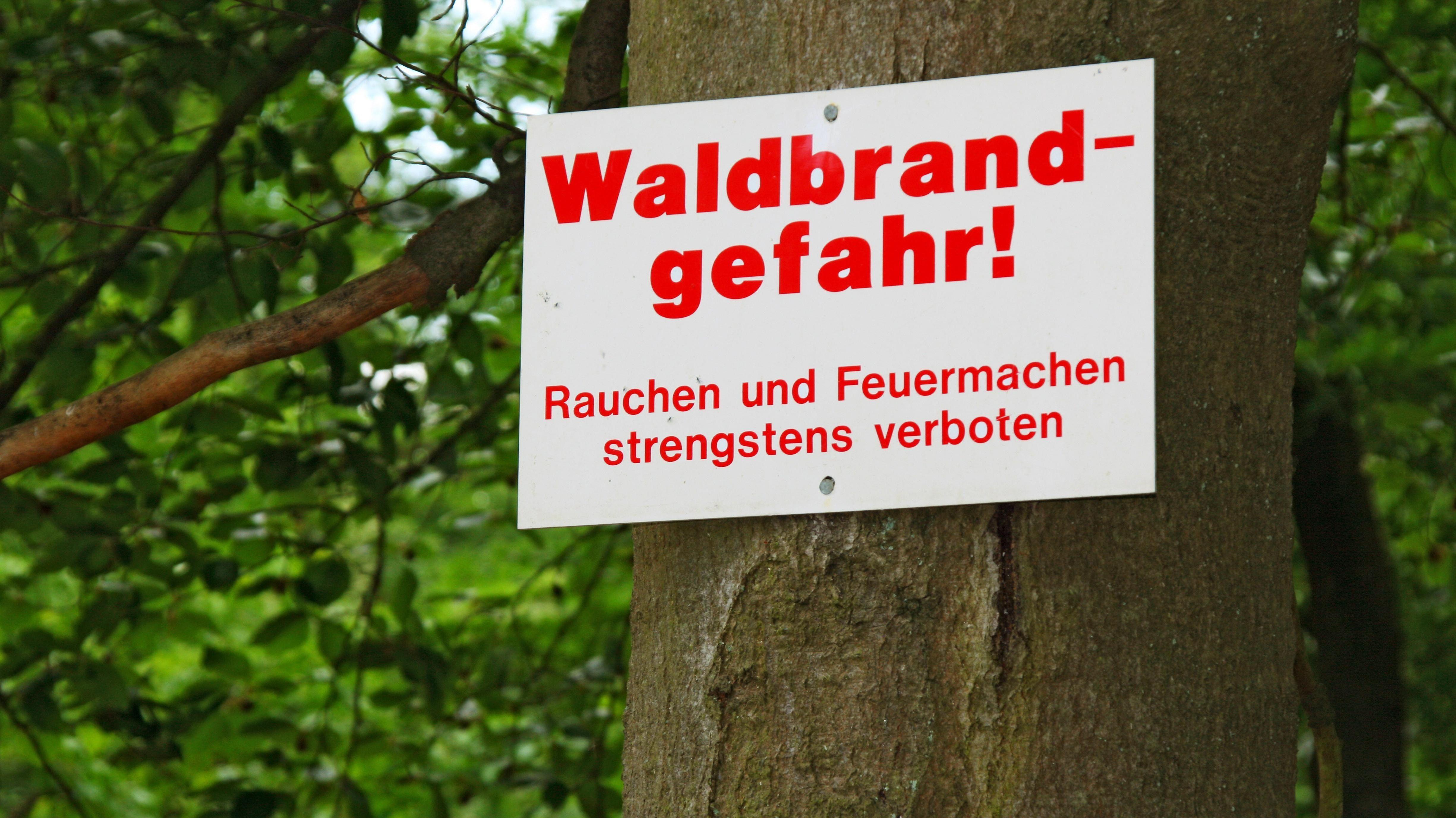 Warnschild im Wald
