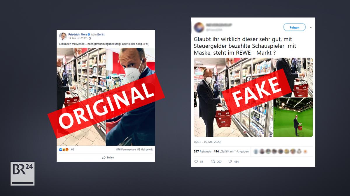 Ein verfälschtes Bild von Friedrich Merz beim Einkaufen auf Twitter. Der Fake verbreitet sich in Verschwörer-Netzwerken.