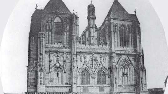 Ein Foto des Regensburger Dom aus dem Jahr 1859. Hier zu sehen die Westfassade.