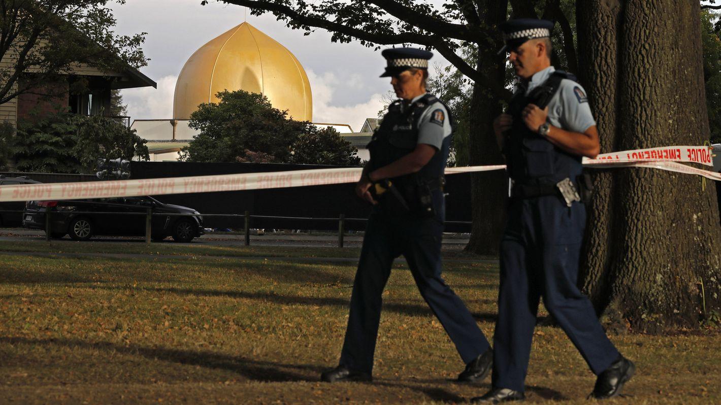 Patrouille vor Moschee in Christchurch