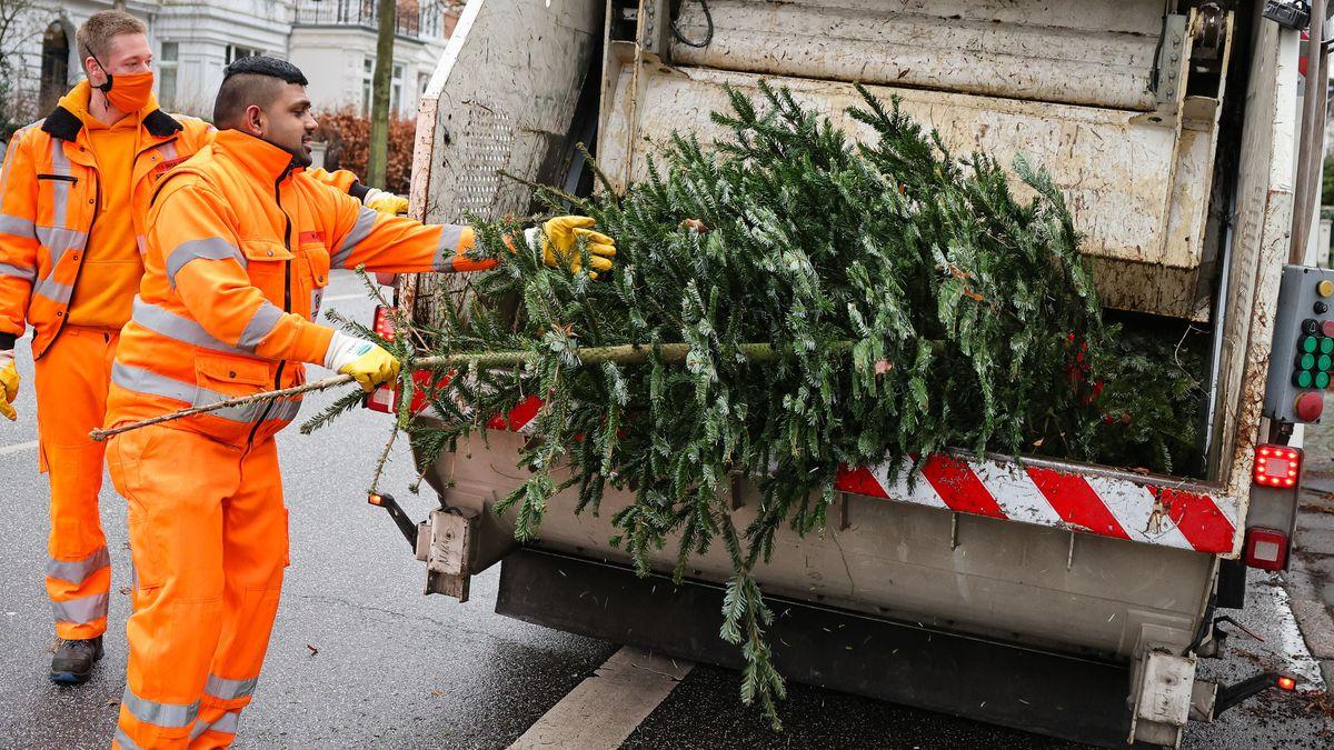 Weihnachtsbaum landet im Müllwagen.