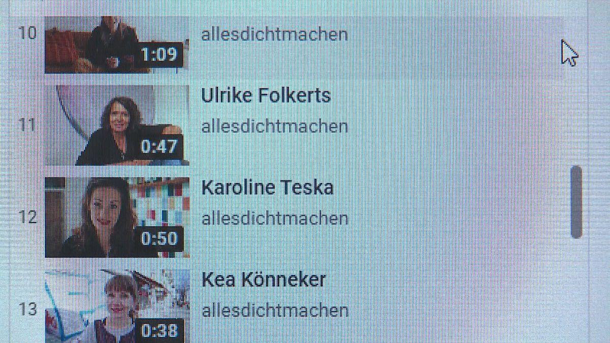 Computerbildschirm mit Schauspieler-Beiträgen