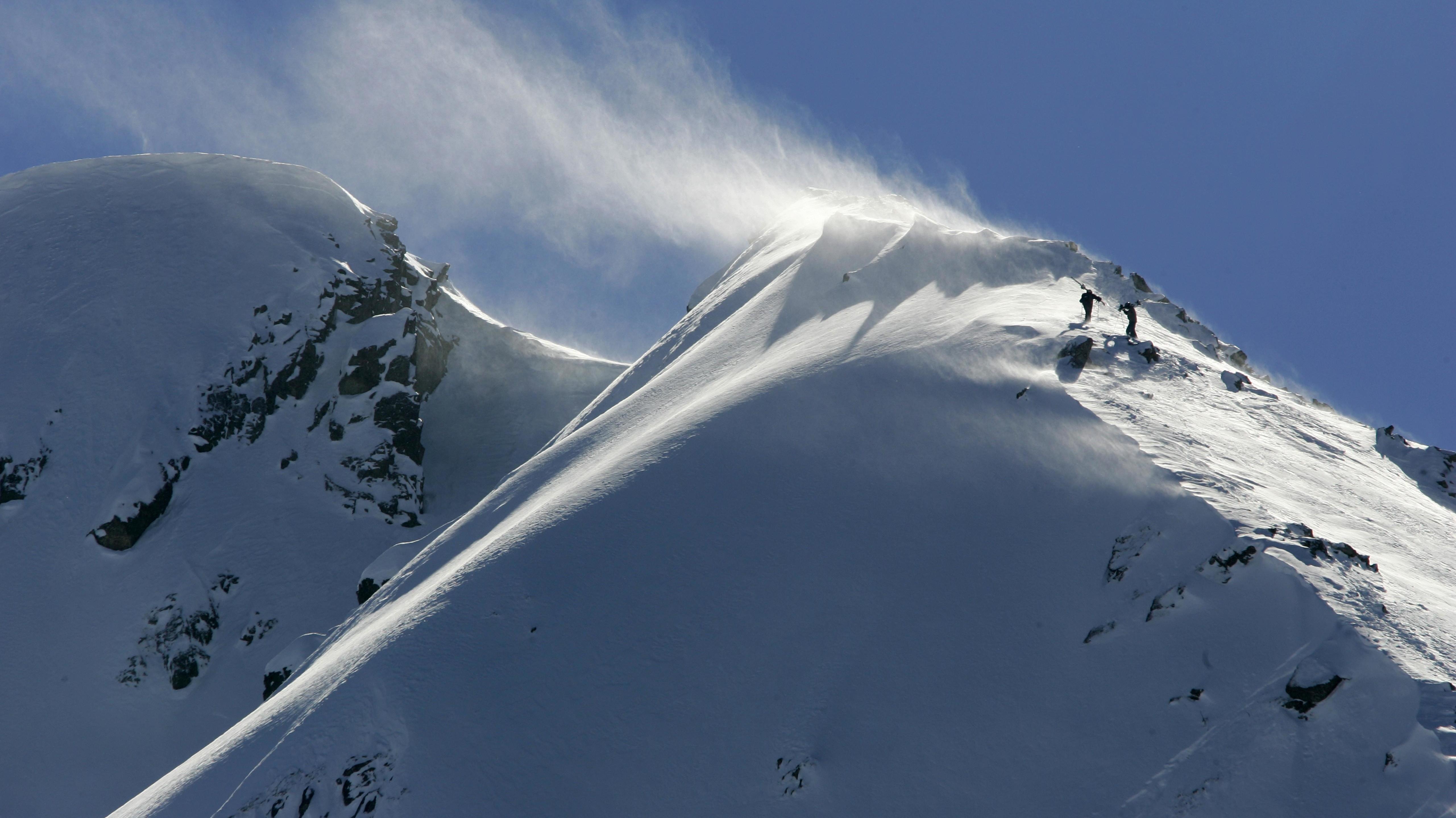 Schneefahne im Pirin Gebirge im Skigebiet Bansko, Bulgarien