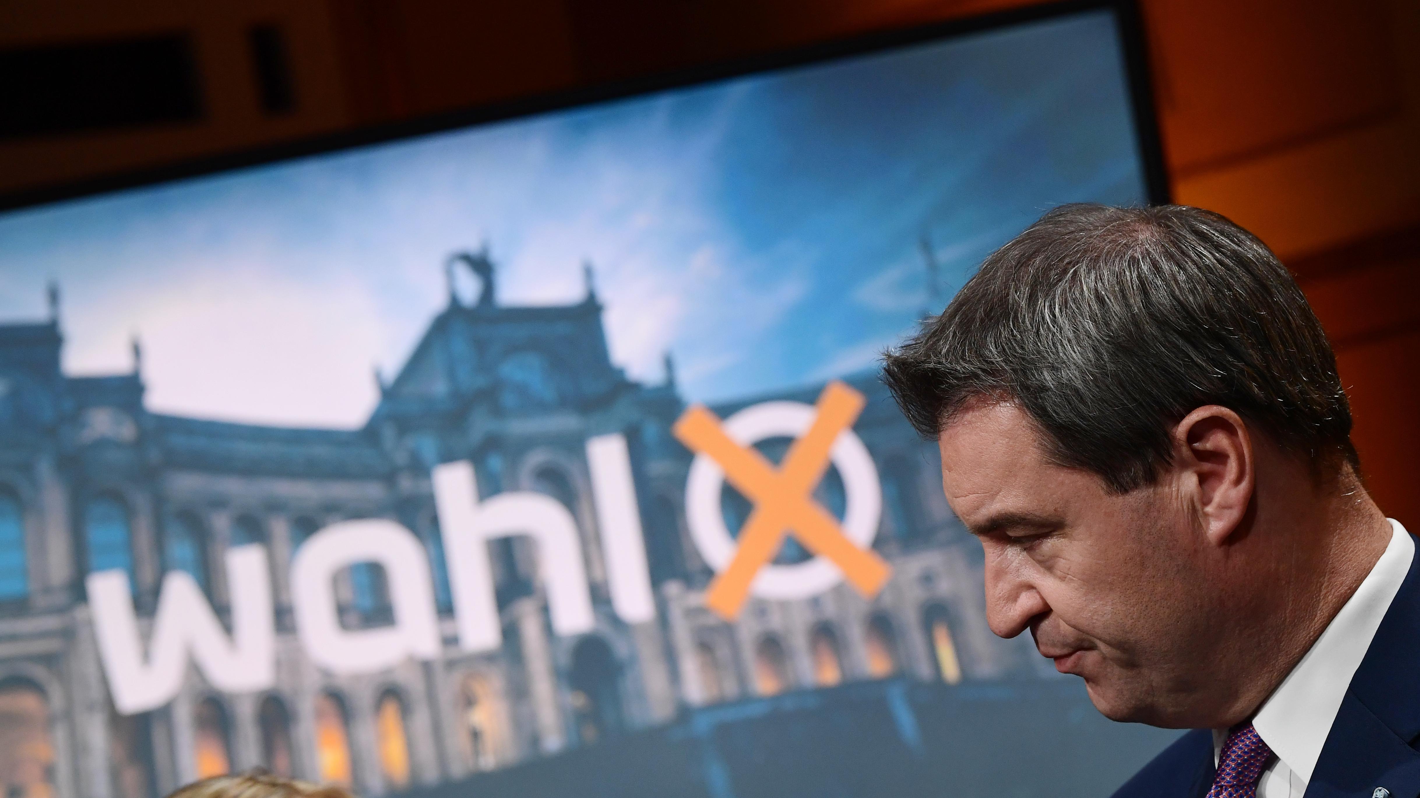 Markus Söder im ARD-Wahlstudio
