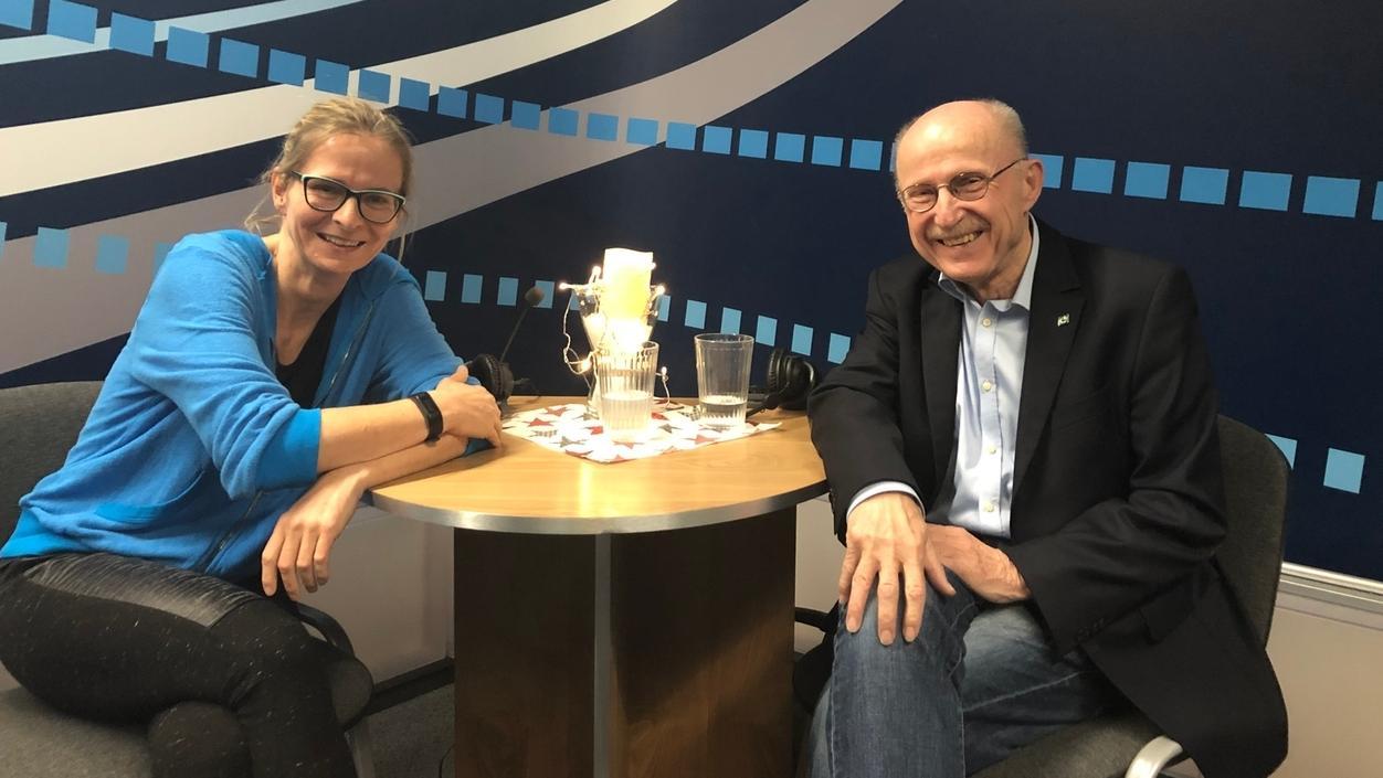 Moderatorin Heike Otto und Willi Lemke,  ehemaliger Manager SV Werder Bremen