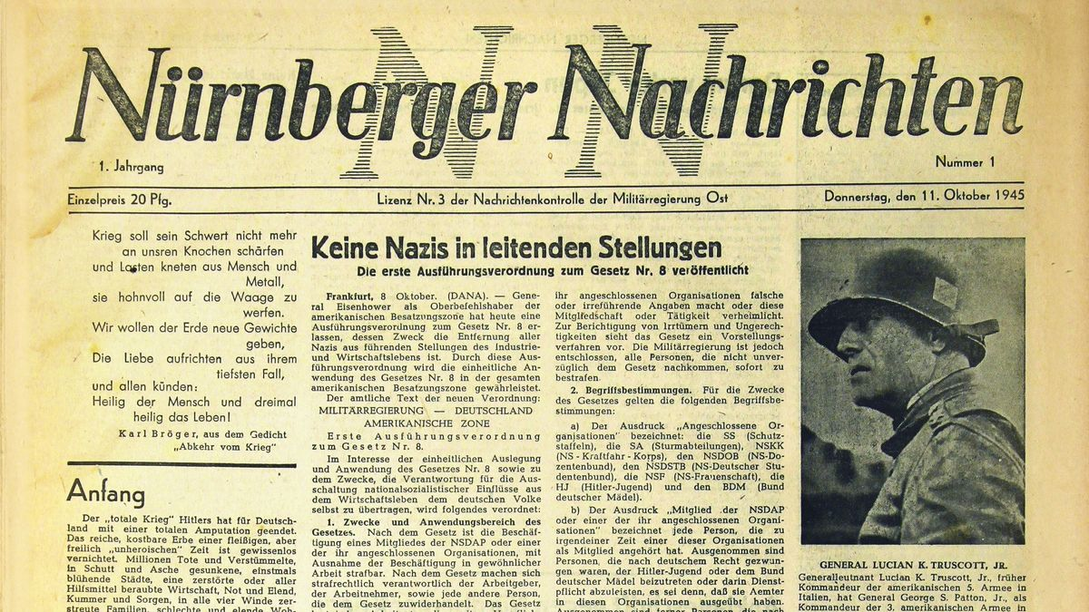 Titelseite der 1. Ausgabe der Nürnberger Nachrichten am 11. Oktober 1945.