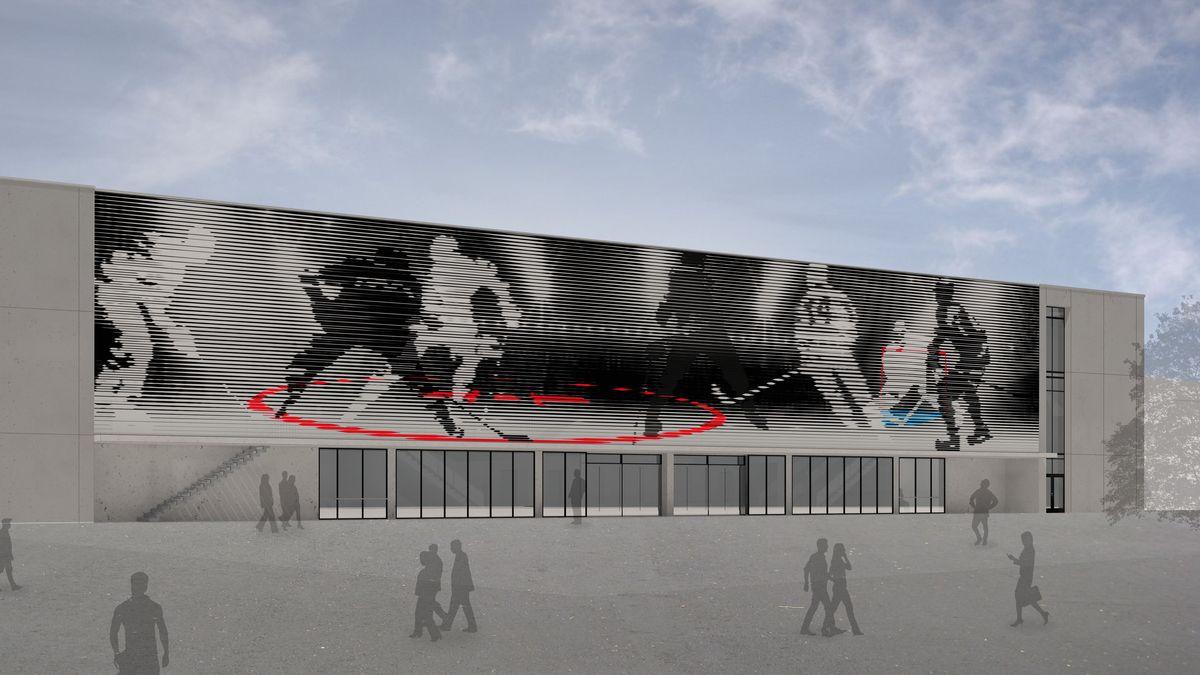 Einer der Entwürfe zur Außenfassade des Landshuter Eisstadions
