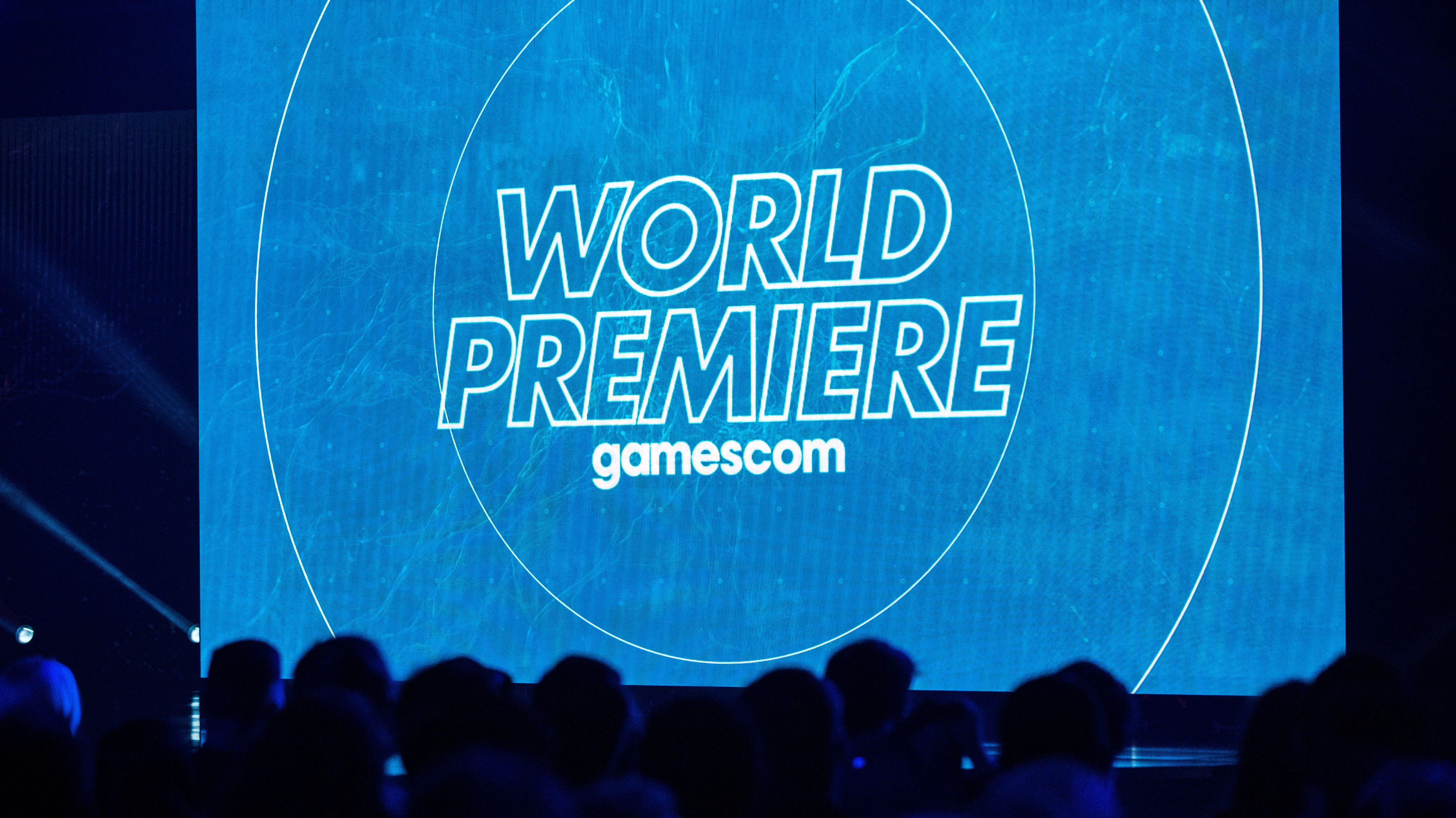 """Auf einer blau erleuchteten Kino-Leinwand steht """"World Premiere""""."""