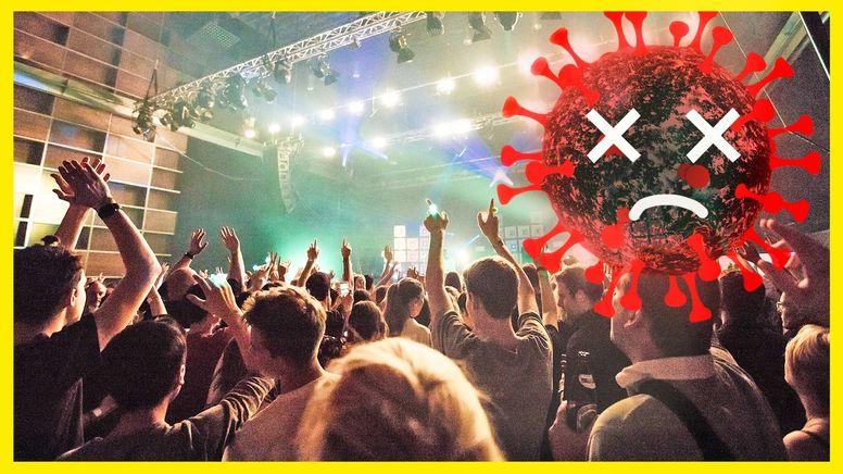 Ein Coronavirus mit X als Augen vor einer feiernden Menge Menschen. | Bild:BR24