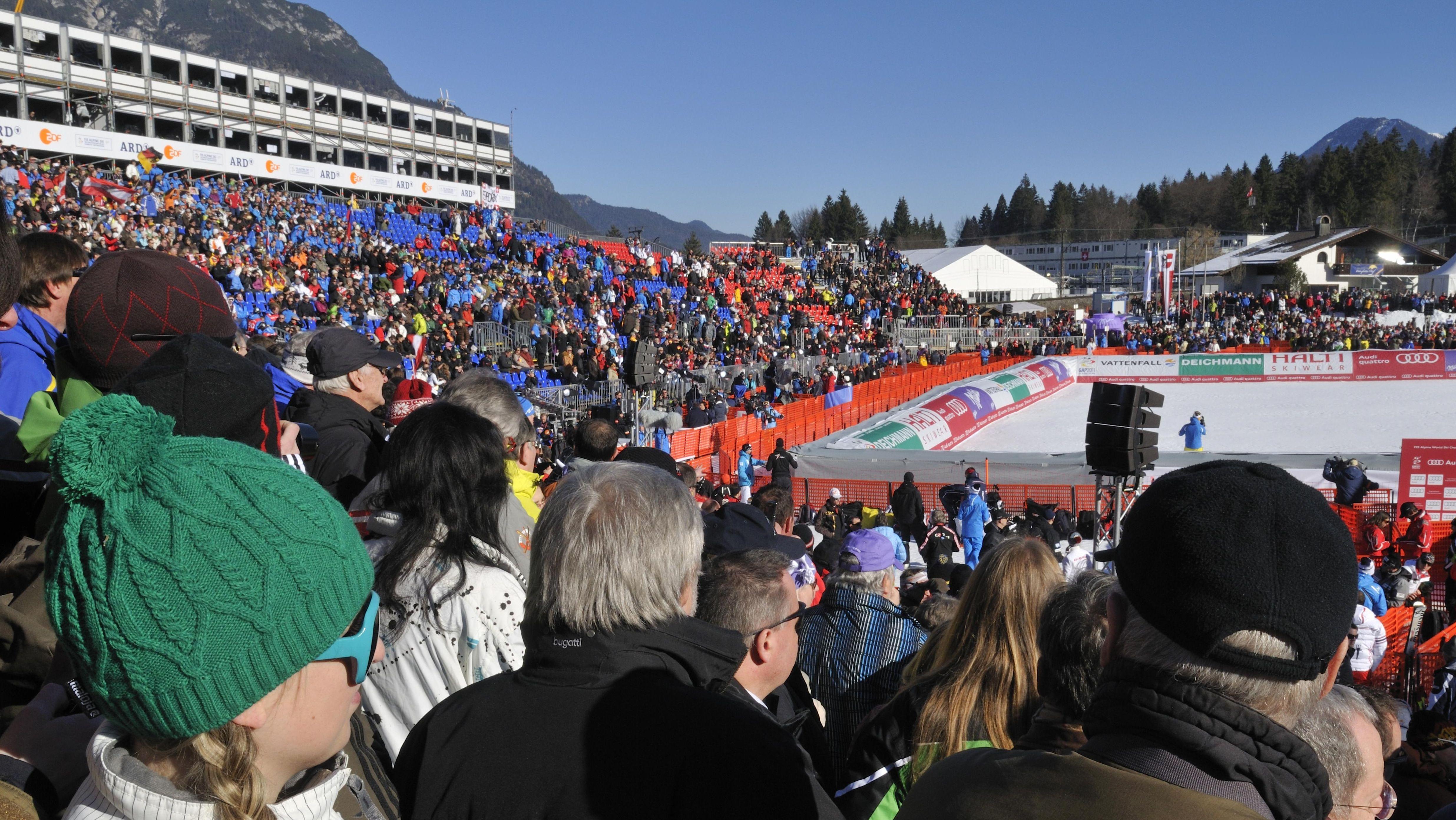 Zielraum bei der Ski-WM 2011 in Garmisch-Partenkirchen