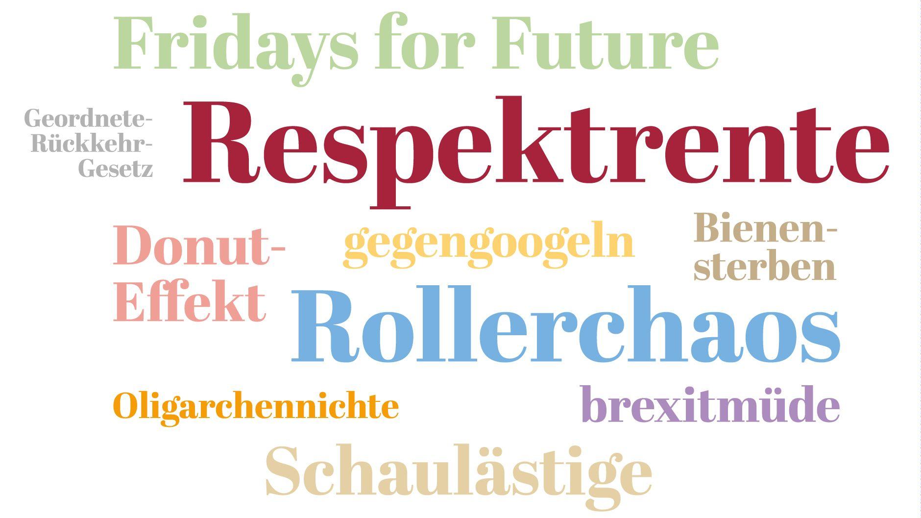 """Grafik zum """"Wort des Jahres"""" 2019: Wörter in unterschiedlichen Farben auf weißem Grund, z.B. """"Respektrente"""", """"Rollerchaos"""" und """"Fridays for Future"""""""
