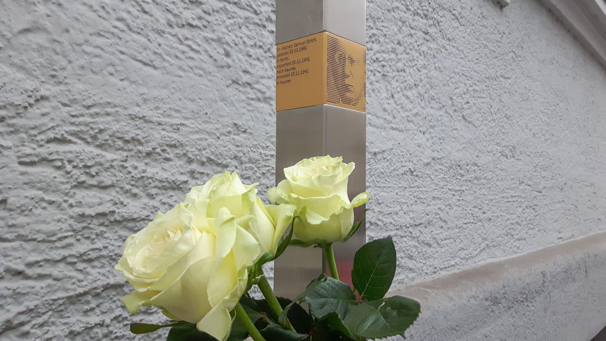 Stele zum Gedenken an deportierte Juden in der Clemensstraße in Schwabing-West.