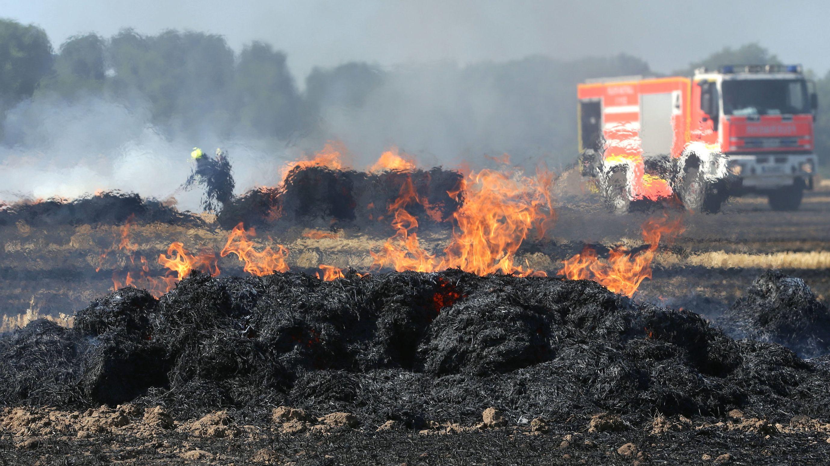 Ein Brand auf einem Feld