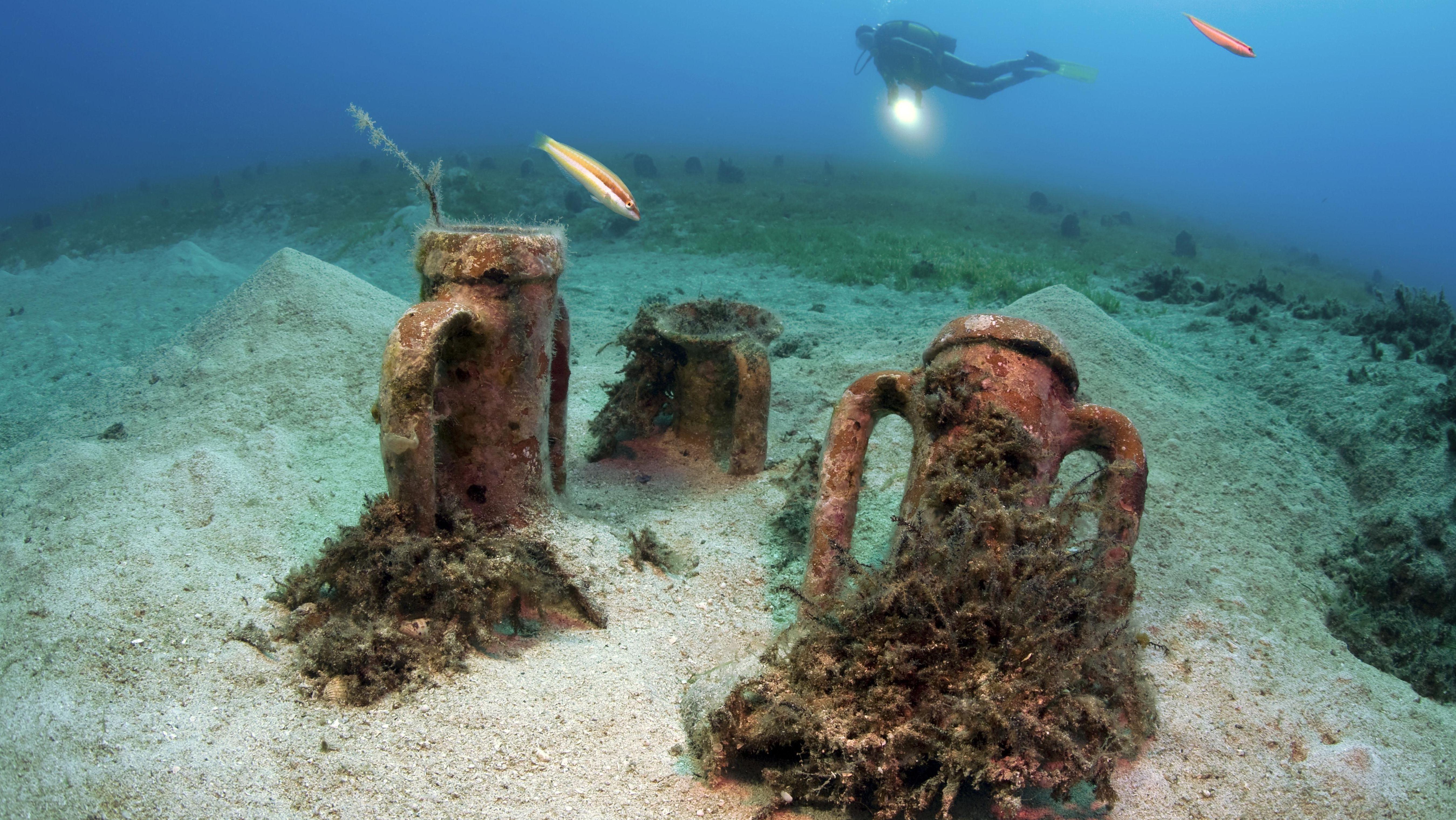 Taucher mit alten italienischen Amphoren aus dem 2. Jh. v. Chr. auf dem Meeresgrund