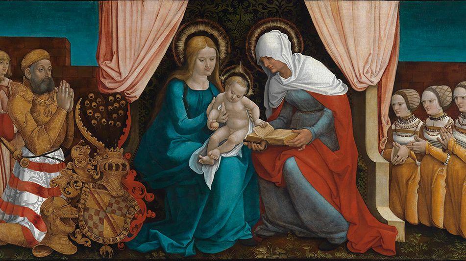 Markgraf Christoph I. von Baden betet mit seiner Familie die heilige Anna, Maria und Jesus an (1510) (Ausschnitt)