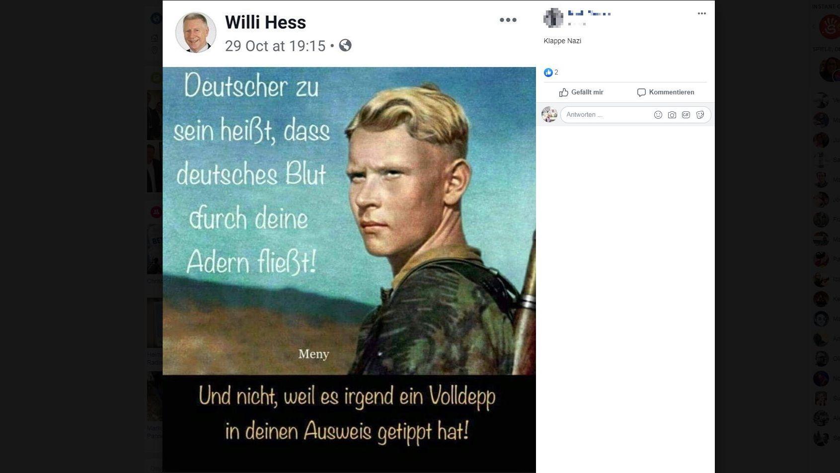Screenshot des mittlerweile gelöschten Facebookposts von Wilhelm Hess