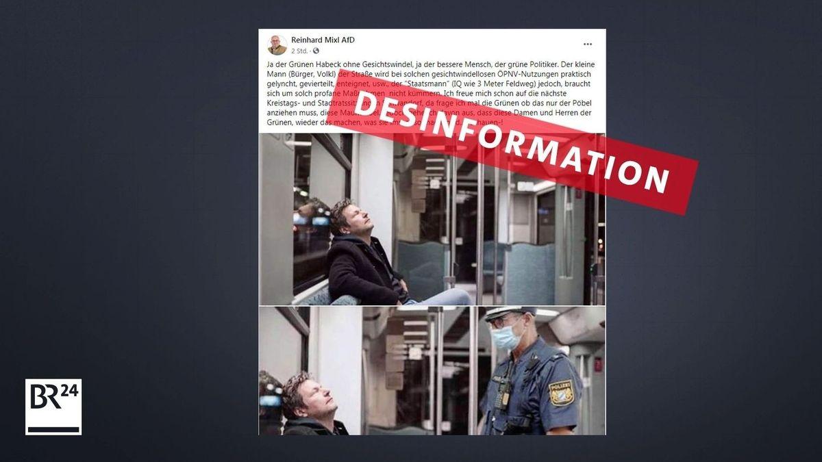 Das Bild zeigt einen Screenshot von den Fotos, die Mixl auf Facebook weiterverbreitete. Das Bild von Grünen-Chef Robert Habeck ist veraltet.