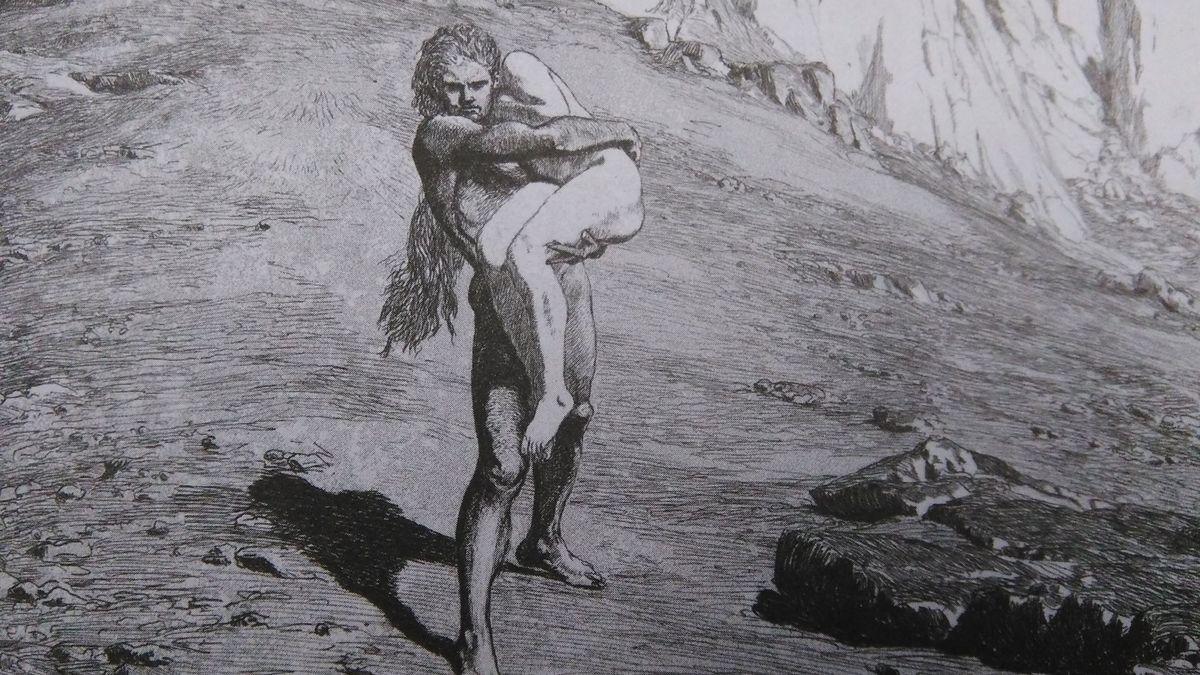 Grafik in schwarz-weiß: Adam trägt Eva durch steiniges Gelände, aus einem Grafikzyklus von Max Klinger
