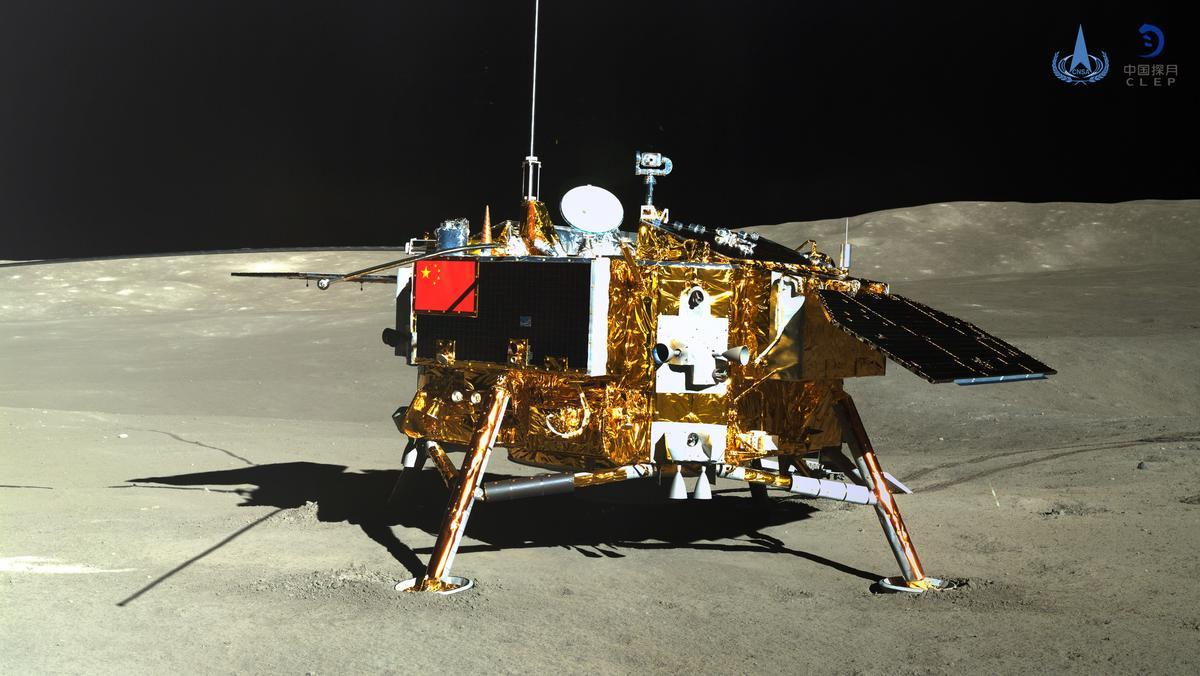 Mondsonde Chang'e 4, aufgenommen vom Rover Yutu 2