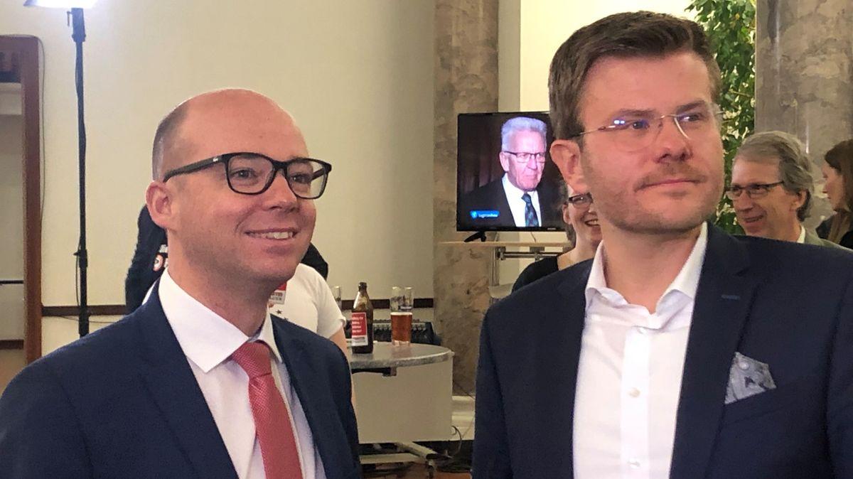 OB-Kandidaten:  links Thorsten Brehm (SPD) und rechts Marcus König (CSU)