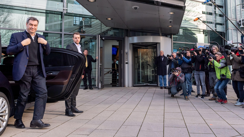 CSU-Chef Markus Söder kommt zum Treffen des Parteivorstands am 17. Februar 2020 in München.
