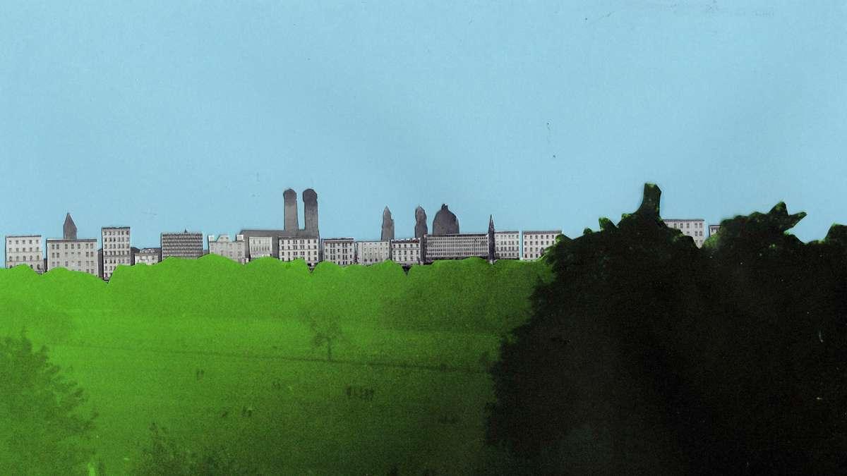 Eine Umrahmung des Englischen Gartens mit schmalen 12- bis 15-geschossigen Stadthäusern hätte vom Park aus gesehen diese Wirkung.