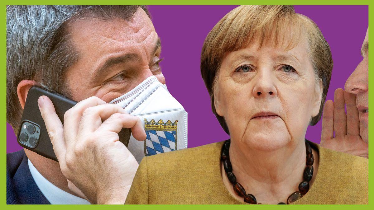 Links ist Markus Söder am Handy und mit Maske zu sehen. In der Mitte blickt Angela Merkel in die Ferne und bekommt von der rechten Seite etwas von einem unbekannten Mann eingeflüstert.