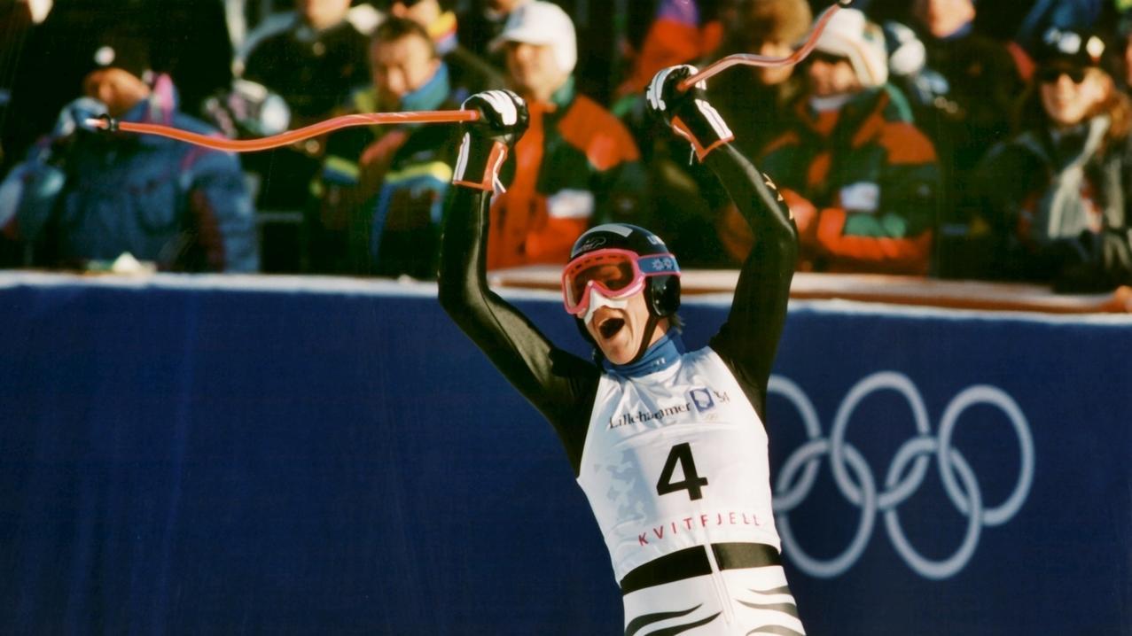 Markus Wasmeier jubelt nach seinem Olympiasieg im Super-G 1994