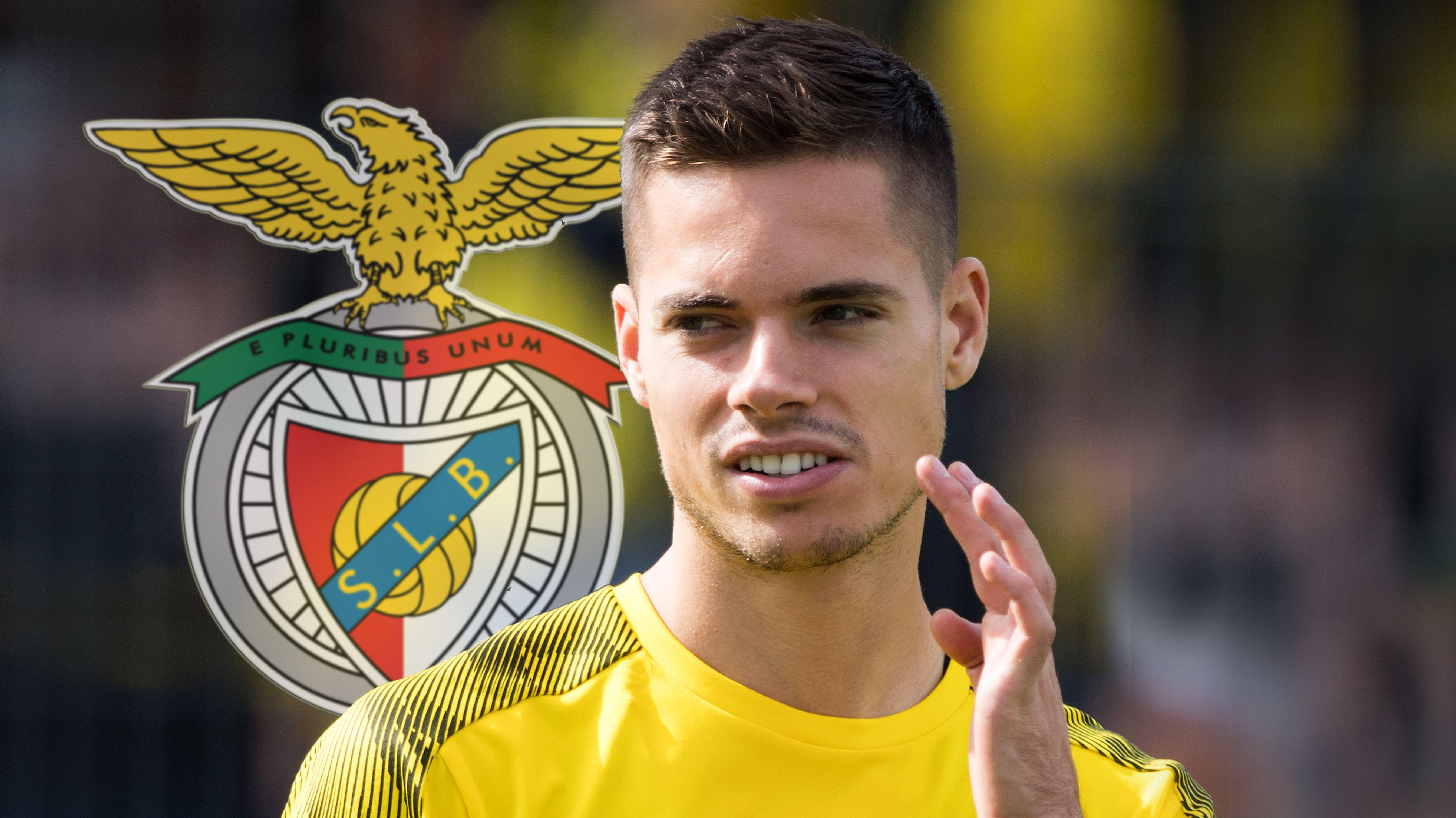 Julian Weigl und das Logo von Benfica Lissabon
