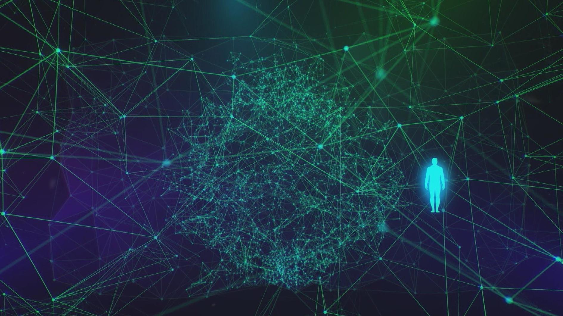 Symbolbild Künstliche Intelligenz - Grüne Datenströme und eine leuchtende Figur