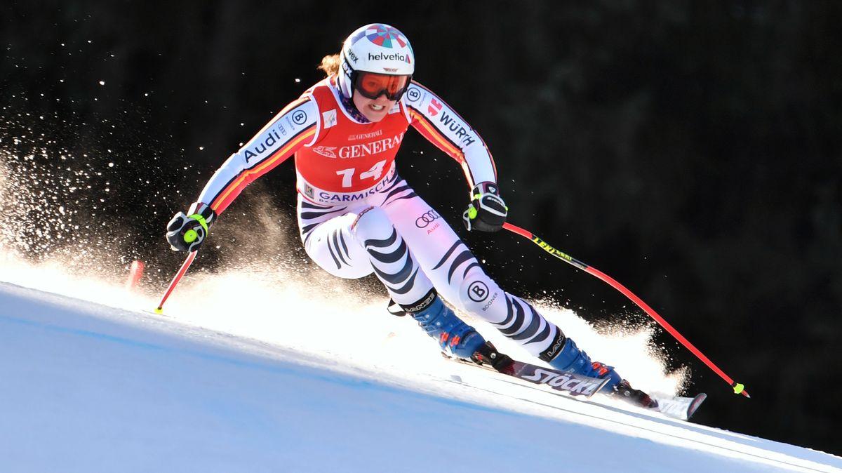 Viktoria Rebensburg beim Training in Garmisch-Partenkirchen
