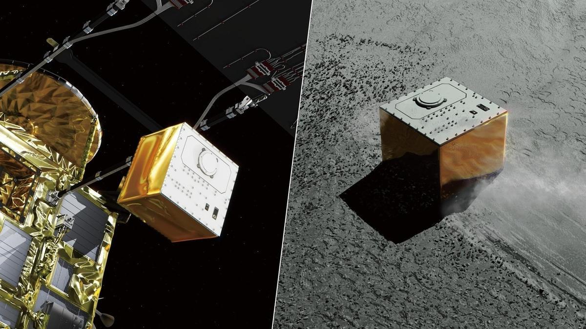 Raumsonde Hayabusa 2 entlässt den Lander MASCOT in Richtung Asteroid Ryugu.