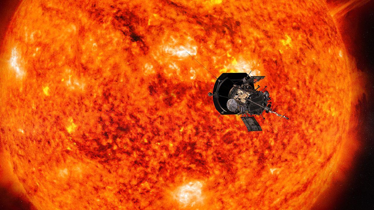 Künstlerische Darstellung der Raumsonde Parker Solar Probe auf ihrem Weg zur Sonne. Erste Ergebnisse der Sonnenmission sind bekannt.