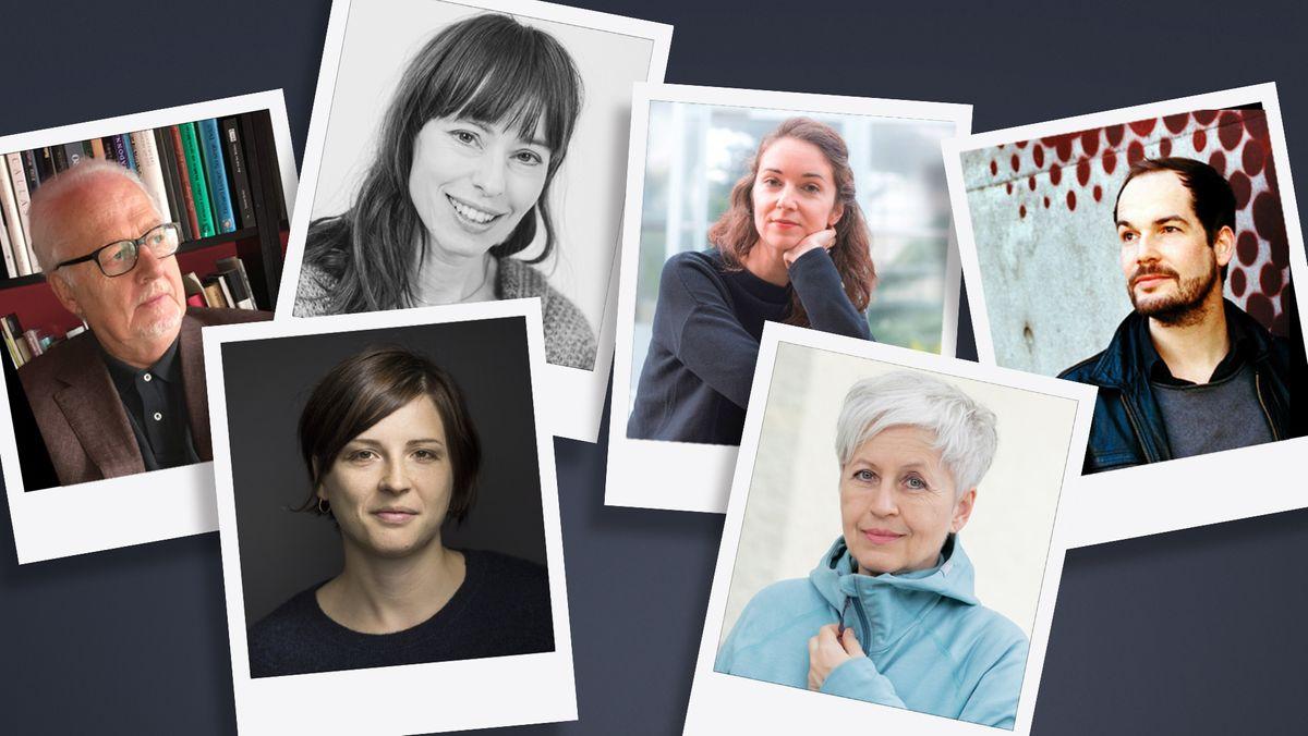 Nominiert für den Bayerischen Buchpreis (v.l.n.r.): Malte Fischer, Dorothee Elmiger, Hedwig Richter, Iris Wolff, Ulrike Draesner, Max Czollek