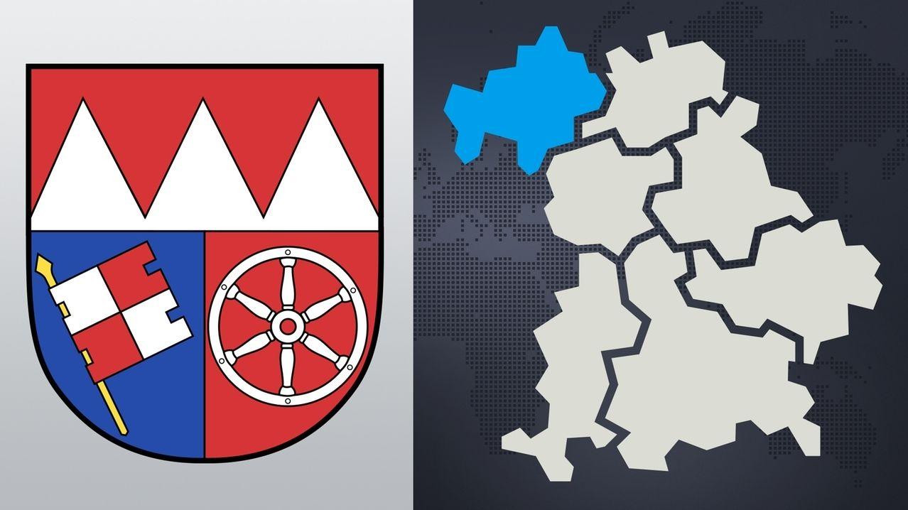 Symbolbild: Das Wappen von Unterfranken, Bayernkarte