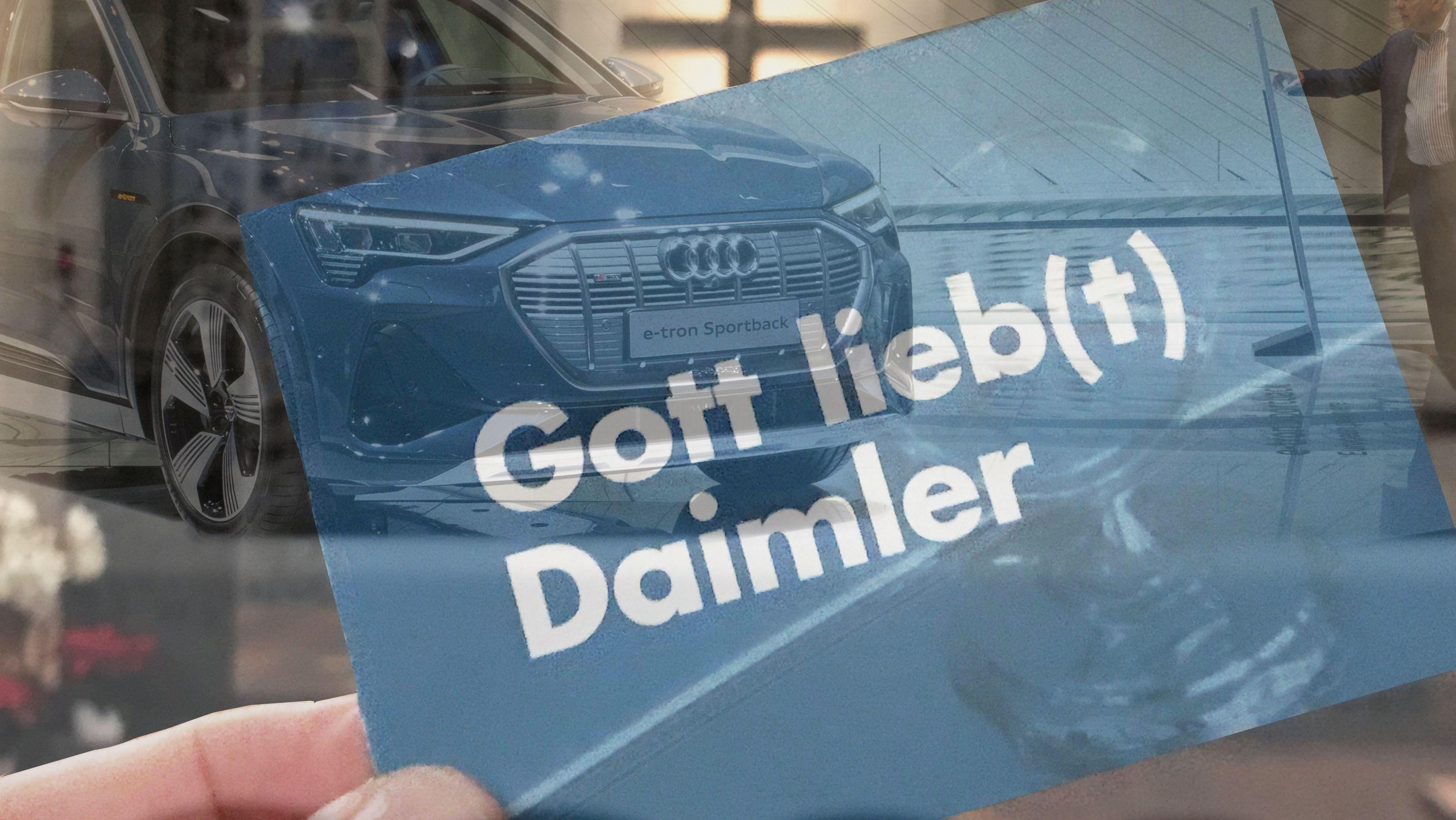 """Flyer aus dem Gottesdienst für die Automobilindustrie mit der Aufschrift """"Gott lieb(t) Daimler"""""""