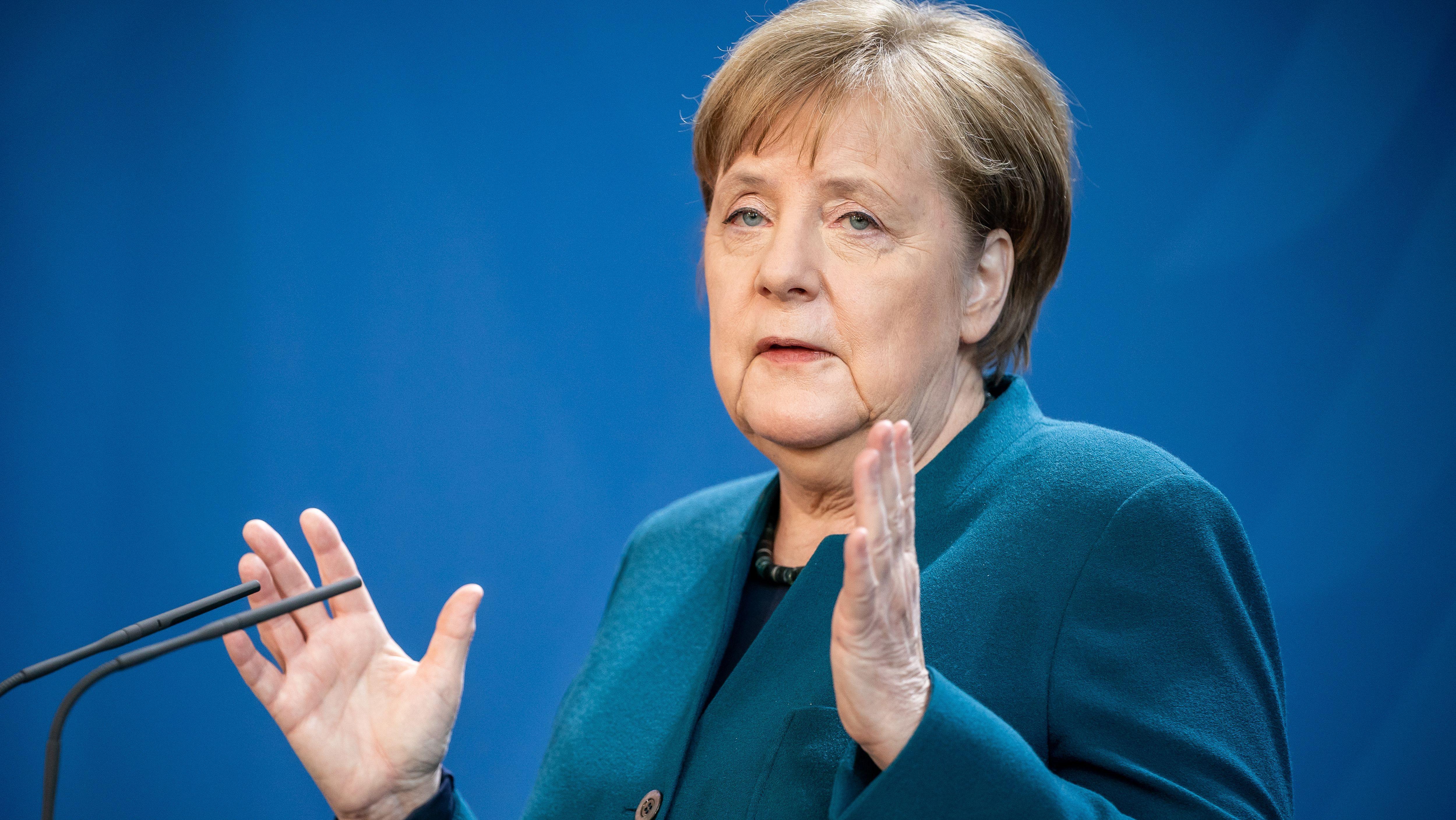 Bundeskanzlerin Angela Merkel bei einer Pressekonferenz zum Coronavirus.