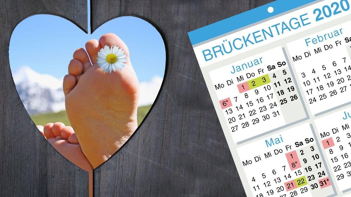 Holzwand mit Herzausschnitt, im Hintergrund Füße mit Gänseblümchen und Berge im Hintergrund, Brückentagekalender