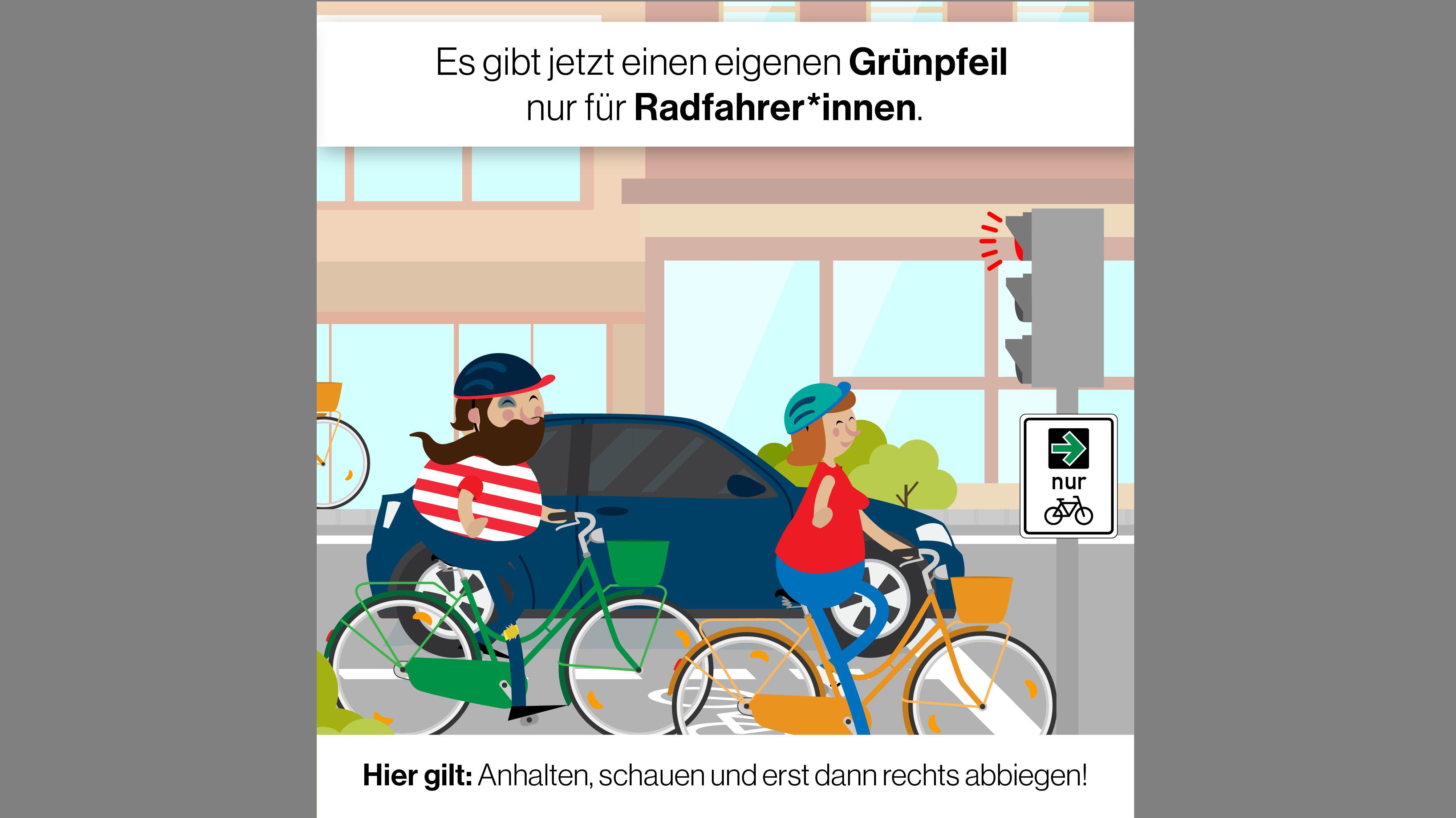 Grafik: Grünpfeil für Fahrradfahrer