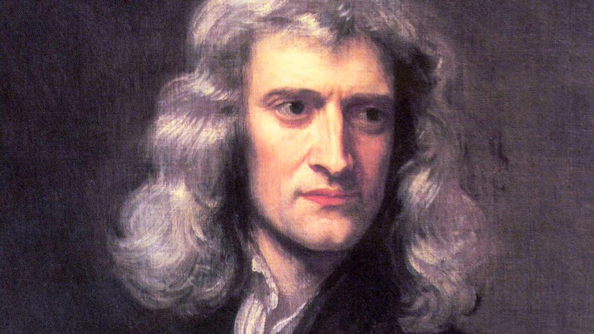 Isaac Newton, britischer Naturforscher, hier auf einer Nachbildung eines Porträts des Künstlers Geoffrey Kneller.