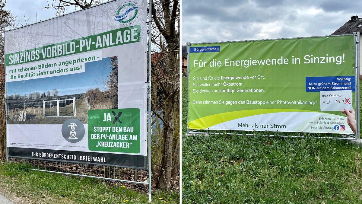 Plakate gegen und für die geplante Photovoltaikanlage