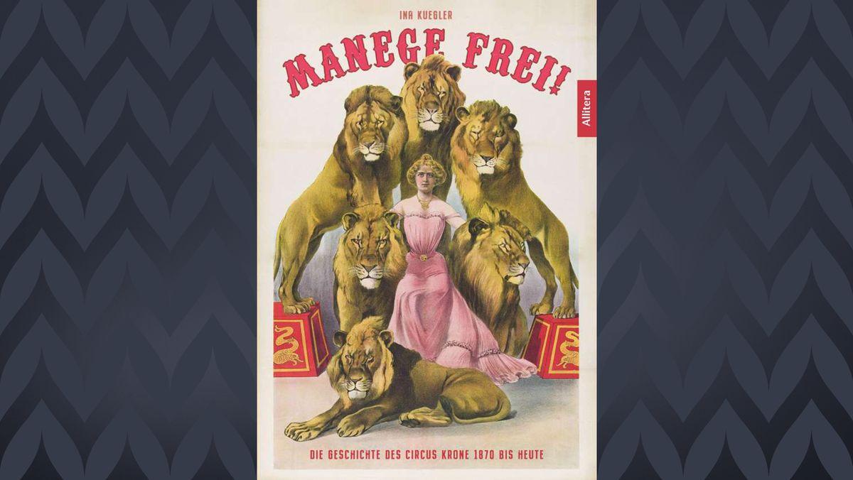 Das Titelbild des Buches: Eine Zeichnung zeigt eine blonde Frau im Kreis von sechs Löwenmännchen