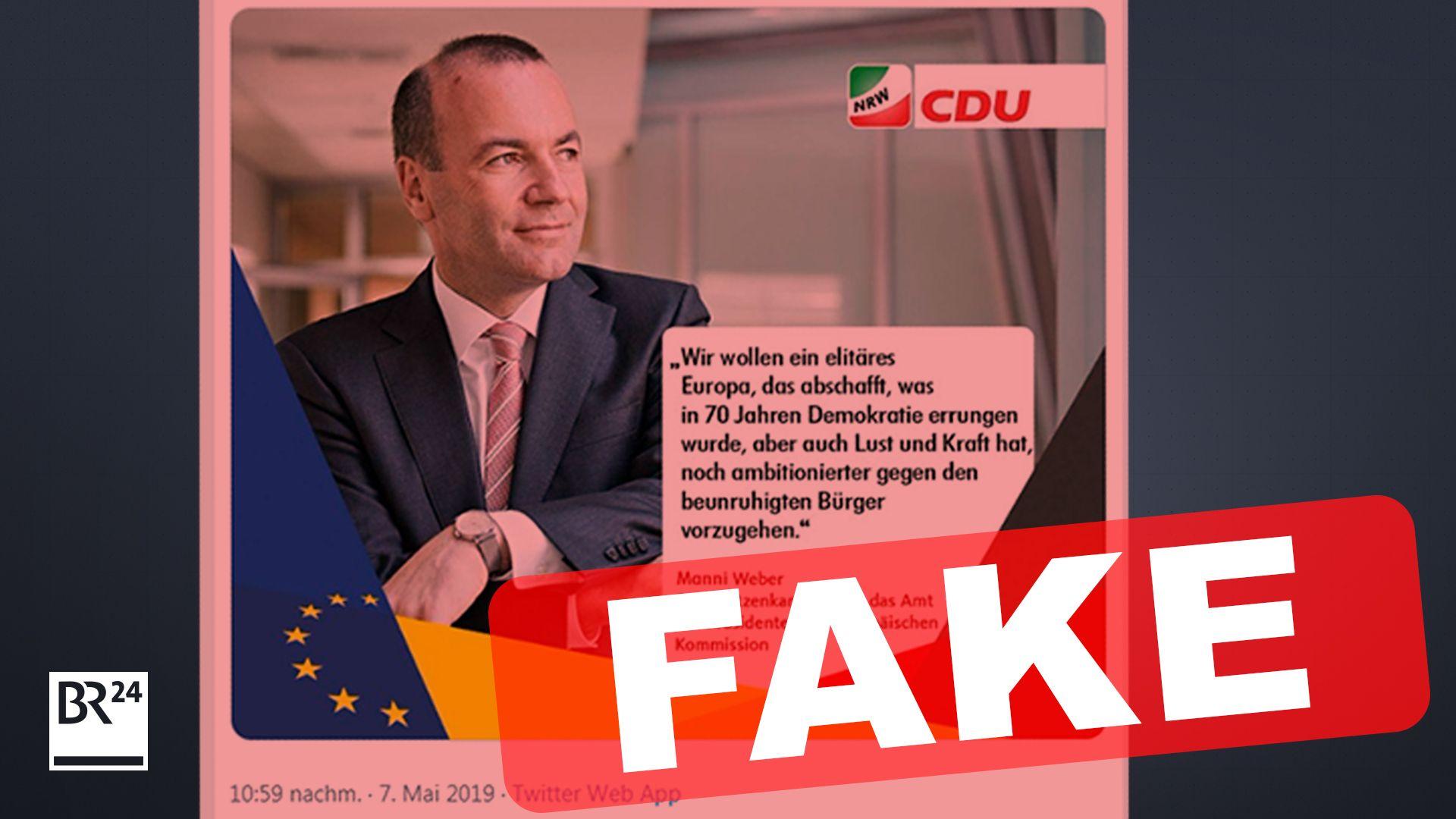 Falschmeldung über den EVP-Spitzenkandidaten Manfred Weber.
