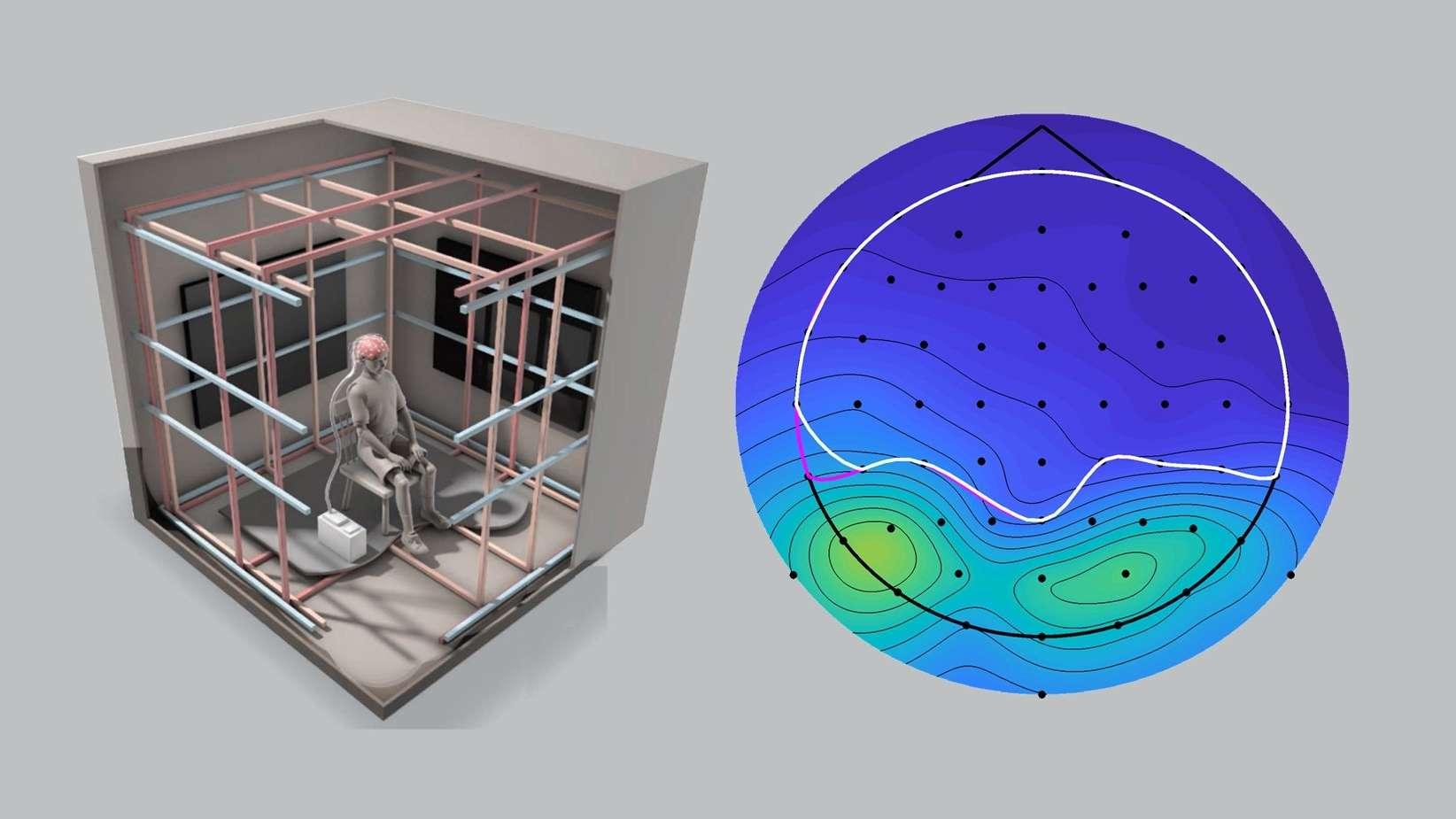 Modell der Testkammer und Diagramm des Abfalls der Alpha-Wellen im Gehirn (dunkelblau)