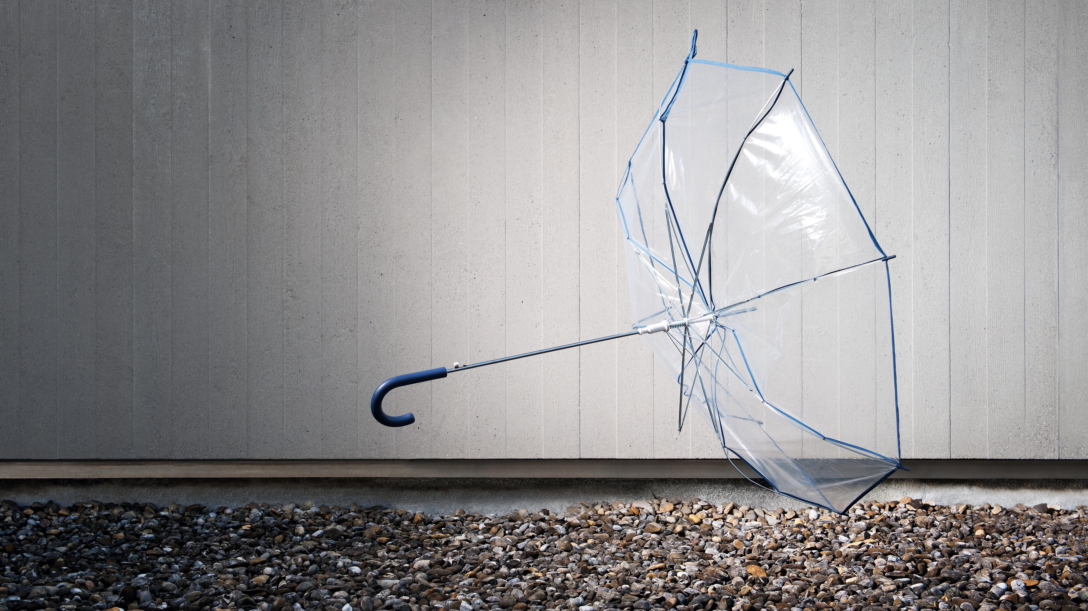 Ein durchsichtiger Regenschirm fliegt durch die Luft