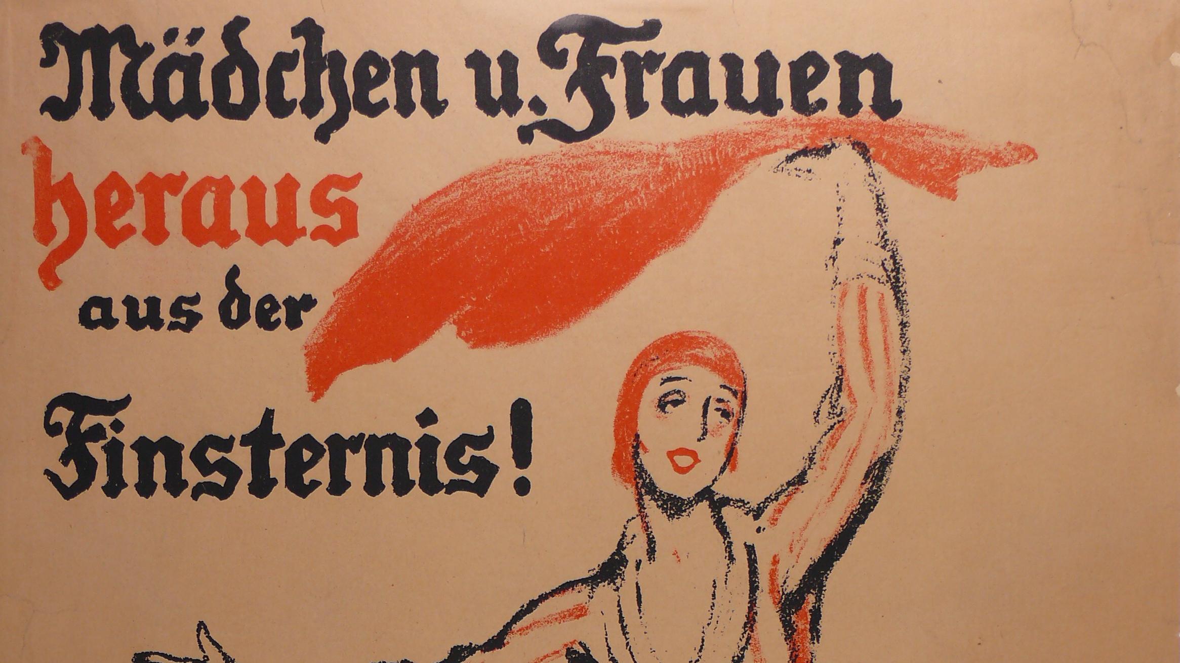 Plakatentwurf von Ludwig Kainer für das Frauen-Wahlrecht