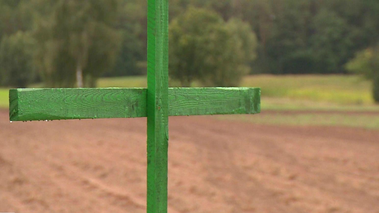 Ein grünes Kreuz der Aktion der bayerischen Landwirtschaftsbetriebe