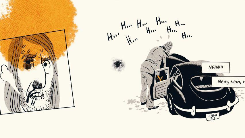"""Eine Szene aus dem Comic """"Vatermilch"""" von Uli Oesterle, auf der sein rauchender Mann zu sehen ist, der ein Problem mit seinem Auto hat"""