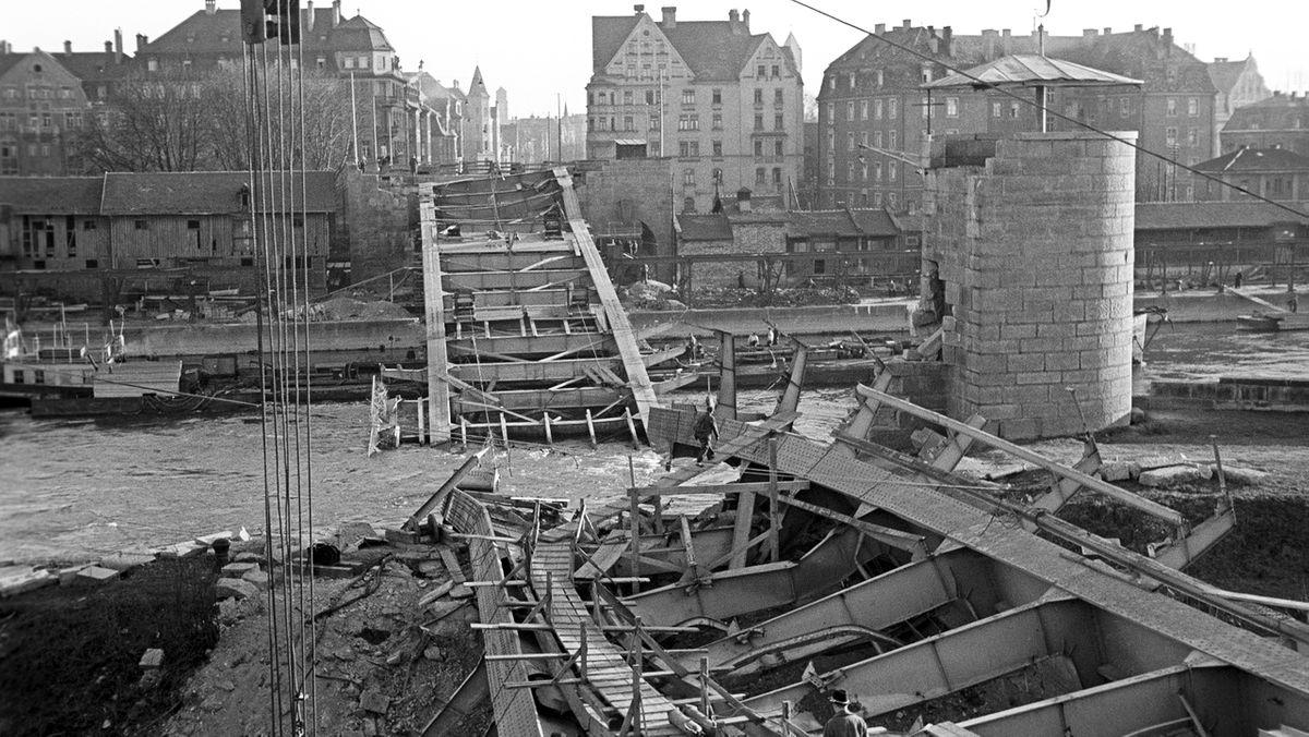 Die zerstörte Nibelungenbrücke