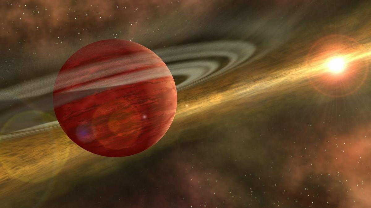 Ein Planet kreist um eine Sonne im Weltall